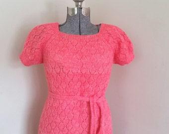 Vintage 1950's Pink Sweater Dress Figure Flattering Retro Bombshell Pin Up Wiggle Mad Men Sweater Dress Thick Warm Wool