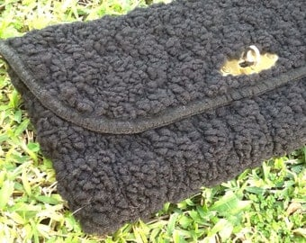 Large Black Wooly Clutch