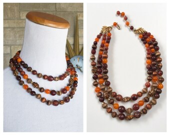 Beaded Wood Necklace * Triple Strand Beads * Vintage 60s Necklace