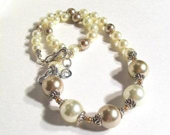 Pearl Necklace Set, Tan & Cream Pearl Necklace, 2 Piece Set, Bridal, Wedding Jewelry