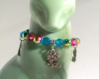 Dragon Charm Bracelet, Pretty Pink & Blue Dragon Charm Bracelet, Dragon Charm Jewelry, Sizes 4' to 7' in Length