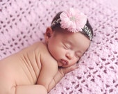 Pink Flower on Leopard Headband - Pink and Leopard Headband - Newborn Pink and Leopard Headband - Baby Pink and Leopard Headband - Cheetah