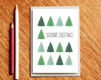 Christmas card Scandi Trees Xmas card Season's Greetings
