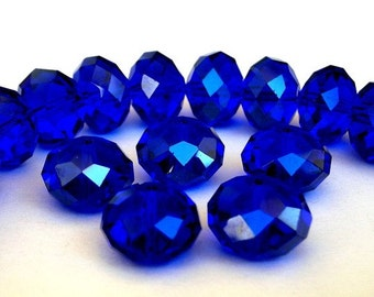 16 cobalt blue beads, Chinese crystal, 10mm x 7mm royal blue rondelles