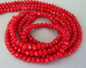 40 TINY scarlet red crystal beads, 4mm red rondelles, ruby quartz beads, red Chinese crystal