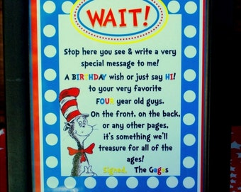 Cat in the Hat Table Sign