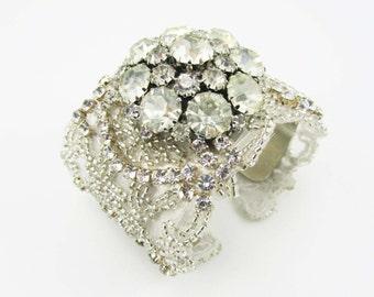 Bridal Cuff, Rhinestone Bridal Cuff, Wedding Bracelet, Bridal Jewelry, Crystal Bracelet, Bridal Accessories