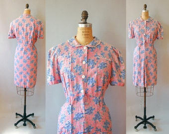 1930s Cotton Dress / XL Laundry Day Dress / 30s