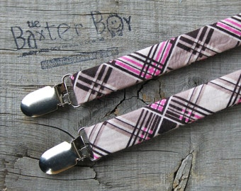 Pink & Black diagonal plaid little boy matching suspenders - photo prop, wedding, ring bearer, accessory