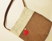 Red Heart, Wool and Cotton Tote Bag