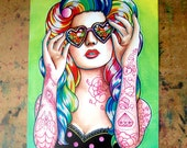 Tattoo Art Print Signed- 5x7 , 8x10 , or Apprx 11x14 in - Sweet Heart - Tattooed Pin Up Girl With Rainbow Hair Edgy Punk Rock Wall Art