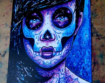 Tattoo Art Print Signed Day of the Dead 5x7 8x10 or 11x14 in Illuminate Dia De Los Muertos Sugar Skull Girl Lowbrow Art Print