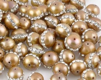 Freshwater Pearls-6mm Round With Crystals-Bronze-Quantity 6