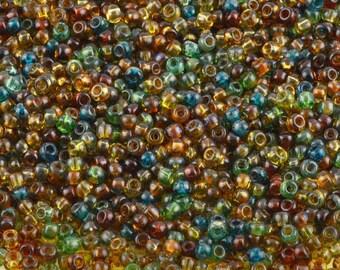 Seed Beads-11/0 Round-007 Hybrid Mix-Transparent Picasso-Toho-16 Grams