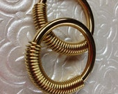 """Coil Closure Brass Hoops - 1.5"""" Diameter - Earrings for Stretched Lobes - Gauges - Ear Weights"""