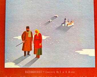 Vintage Victor Red Seal recording of Sergei Rachmaninoff playing piano Concerto No. 3 in D Minor. Eugen Ormandy conducting. MINT.