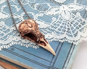 MINI lacy magpie bird skull necklace
