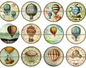 """1"""" Inch Vintage French Airship Balloon Flat Back Buttons. Pins or Magnets 12 Ct."""