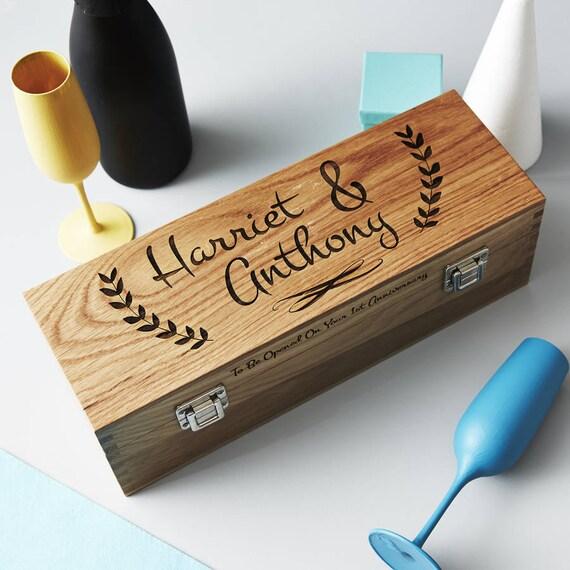Personalised Wedding Gift Oak Bottle Box : Personalised Couples Oak Bottle Box