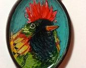 Red Mohawk Miniature Hand Painted Badge