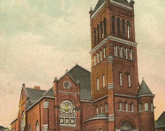 ELMIRA New York First German Evangelical Church Unused Litho Chrome Vintage Postcard