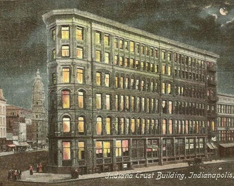 Vintage Postcard Indiana Trust Building Indianapolis Indiana Night View Under Full Moon 1908