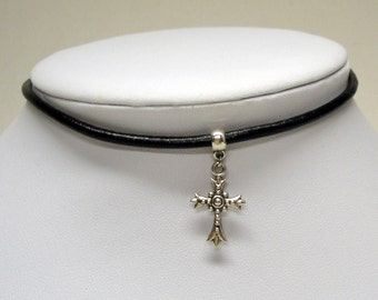 Black Cord Choker Necklace with Tibetan Silver Cross
