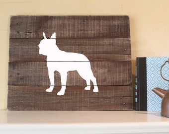 Boston Terrier Silhouette, Reclaimed Wood Sign, Boston Terrier Art, American Gentlemen, Boston Bull Terrier, Boston Bull, Boxwood, Wall Art