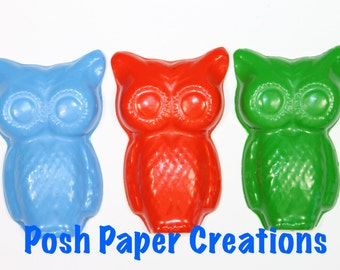10 Large owl crayons - in cello bag tied with ribbon