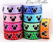 10 Yard 1.5 inch 38mm Polka Dot Bow Minnie Mouse Grosgrain Ribbon - 9 Colors