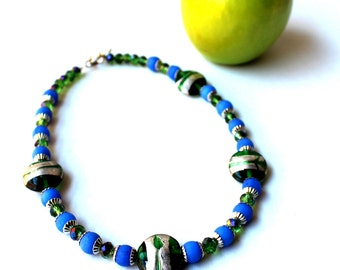 Classic Blue & Green Necklace with Unique Foiled Lampwork Accent Beads - Peacock Green Crystals, Ready to Ship, Sale - Now Marked 40% OFF