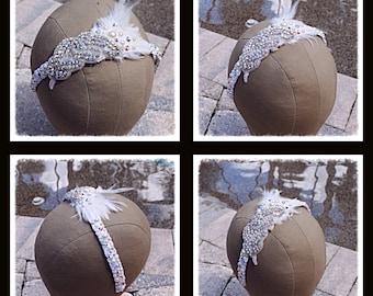 Swarovski Crystal and Pearl Feather Bridal Wedding Headband