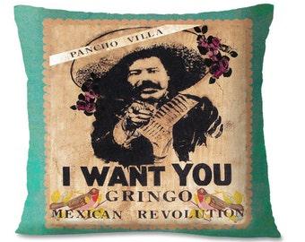 Mexico PANCHO VILLA Pillow Cover - Mexican Revolution - War - Gun - Historical -Southwest - Spanish - European Linen backing