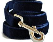 Navy Blue Velvet Leash
