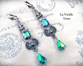 Emerald AB Crystal Gothic Earrings, Victorian Earrings, AB Glass Jewel Earrings, Victorian Gothic Jewelry