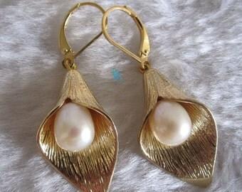pearl earrings 8*9mm White Freshwater Pearl Dangle Earrings D3SY- Free shipping
