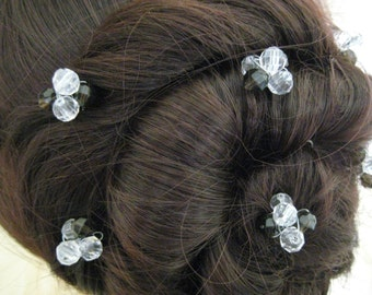 Beaded Hair Pins  x 6. Handmade. Crystal and Jet Cluster. Bridal, Wedding, Prom