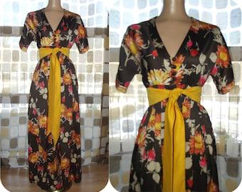 Vintage 70s Dress | 1970s Maxi Dress | Hostess Gown | Brown Satin Floral Print | Empire Waist | Size S/M