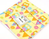 READY TO SHIP! Eco Friendly Washcloth or Cloth Wipes with Soft Terrycloth -Set of 2 in Pink Blue Owls on Yellow