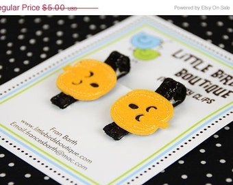 ON SALE Baby Toddler Hair Clips/Bows - Halloween Orange Black Pumpkin- Double Surprised