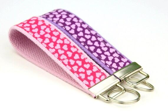 BUY 4 GET 1 FREE- Keychain Wristlet- Key Fob Pink or Purple Hearts