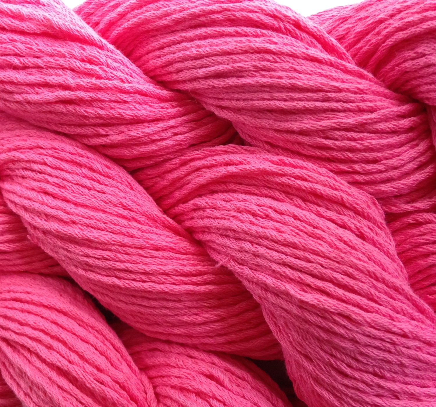 Cotton Yarn Worsted Weight Bubble Gum Pink Reclaimed Sweater