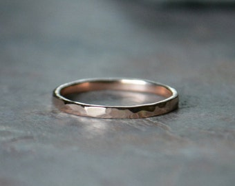 Rose Gold Hammered Ring 14K Recycled Gold Stack Ring Wedding Band Eco Friendly