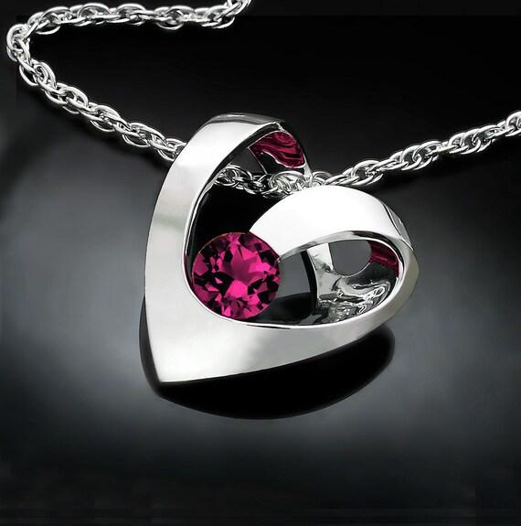 garnet necklace, heart necklace, Rhodolite garnet pendant, January birthstone, valentine gift, red necklace, Argentium silver  3401