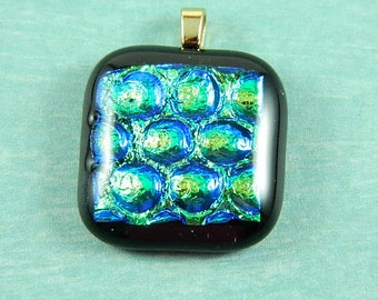 Turquoise and Green Dichroic Fused Glass Pendant