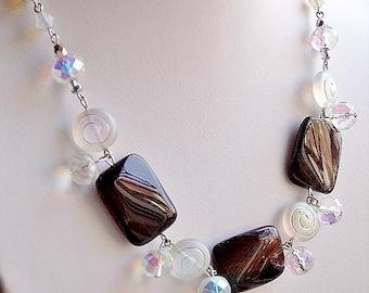 Black Agates and  Rainbow Moonstone Jewelry Set