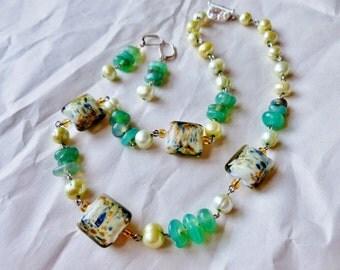 Elegant Green/ Jade, Green Freshwater Pearls, and Indian Lampwork Glass Jewelry Set