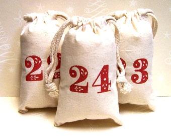 Set of 24 Advent Calendar Christmas Hand Stenciled Muslin Favor Bags 4 x 6 5 x 8