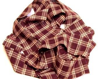 1 yard Homespun Cotton Fabric Ribbon Burgundy Plaid