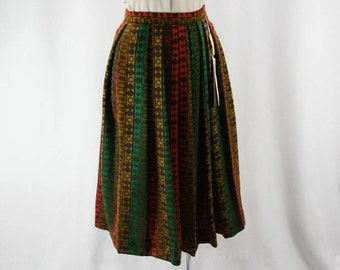 XXS 1950s Wool Pleated Skirt - Size 2 Tweedy Mod Striped 60s Full Skirt - Coral Peach - Jade Green - Brown - NWT - Waist 24 - 42196
